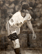 Baseball Painting Framed Prints - Barry Zito - Redemption Framed Print by Darren Kerr