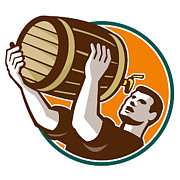 Barrel Digital Art - Bartender Pouring Drinking Keg Barrel Beer Retro by Aloysius Patrimonio