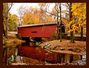 Covered Bridge Mixed Media Prints - Bartrams Covered Bridge with border Print by L Brown