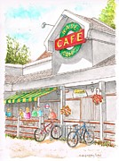Bicycles Paintings - Base Camp Cafe in Mammoth Lake - California by Carlos G Groppa