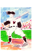 Baseball Paintings - Base Hit by Samuel Zylstra