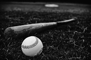 Baseball Seam Photo Metal Prints - Baseball and Bat on Field Metal Print by Danny Hooks