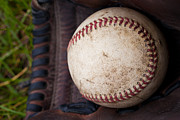 Baseball Seam Photo Metal Prints - Baseball and Glove Metal Print by David Patterson