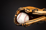 Baseball Seams Photo Metal Prints - Baseball and glove Metal Print by Joe Belanger