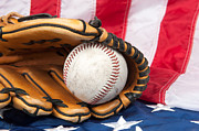 Baseball Seams Photo Metal Prints - Baseball and glove on American flag Metal Print by Joe Belanger