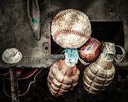 Grenades Prints - Baseball and Hand Grenades Print by Gary Heller