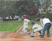 American League Painting Posters - Baseball at Stone Park Poster by Cliff Wilson
