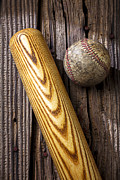 Worn Leather Metal Prints - Baseball bat and ball Metal Print by Garry Gay