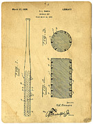Baseball Drawings Framed Prints - Baseball Bat Patent Framed Print by Edward Fielding