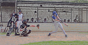 Baseball Digital Art Posters - Baseball Batter Contact Digital Art Poster by Thomas Woolworth