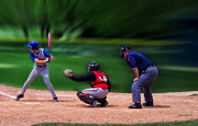 Mlb Metal Prints - Baseball Batter Up Metal Print by Thomas Woolworth