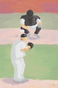 Baseball Original Art Posters - Baseball Bond Pitcher and Catcher Poster by Arlene Babad