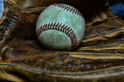 Baseball Close Up Framed Prints - Baseball broken in Framed Print by Paul Ward