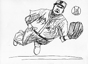 Baseball Art Drawings Originals - Baseball Catch by Brian Forrest