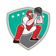 Baseball Catcher Catching Shield Cartoon Print by Aloysius Patrimonio