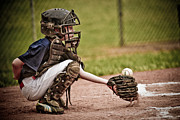 Child Playing Baseball Framed Prints - Baseball Catcher Framed Print by Jt PhotoDesign