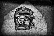 Worn Leather Metal Prints - Baseball Catchers Mask Vintage in black and white Metal Print by Paul Ward