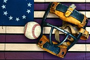 Man Cave Photo Framed Prints - Baseball Catchers Mask Vintage on American Flag Framed Print by Paul Ward