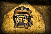 Worn Leather Metal Prints - Baseball Catchers Mask Vintage  Metal Print by Paul Ward