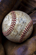 Worn Leather Metal Prints - Baseball Close Up Metal Print by Garry Gay