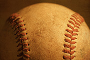 Seams Prints - Baseball closeup showing stitches and seams with dirt Print by ELITE IMAGE photography By Chad McDermott