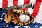 Baseball Seams Photo Metal Prints - Baseball equipment on American flag Metal Print by Joe Belanger