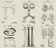 Baseball Artwork Drawings - Baseball Equipment Patent Collection by PatentsAsArt