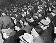 New York Stadiums Prints - Baseball fans at Yankee Stadium for the third game of the World Print by Underwood Archives
