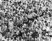 Baseball Stadiums Photo Framed Prints - Baseball fans in the bleachers at Yankee Stadium. Framed Print by Underwood Archives