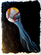 Night Game Paintings - Baseball Flying by Catherine Twomey