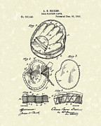 Baseball Art Drawings Metal Prints - Baseball Glove 1895 Patent Art Metal Print by Prior Art Design