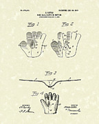 Glove Drawings Metal Prints - Baseball Glove 1907 Patent Art Metal Print by Prior Art Design