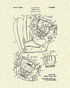 Baseball Art Drawings Metal Prints - Baseball Glove 1953 Patent Art Metal Print by Prior Art Design