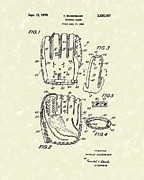 Baseball Art Drawings Metal Prints - Baseball Glove 1970 Patent Art Metal Print by Prior Art Design