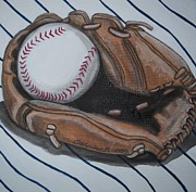Ny Yankees Paintings - Baseball Glove and Ball by Catherine Boley