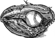 Baseball Drawings Metal Prints - Baseball glove and ball Metal Print by Chu-Hua Mou