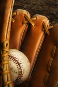 Recreational Sport Posters - Baseball Glove And Baseball Poster by Chris Knorr