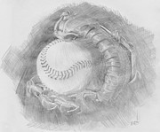 Baseball Glove Drawings Framed Prints - Baseball Glove Framed Print by Michele Engling