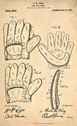 Glove Digital Art Prints - Baseball Glove Patent 1910 Print by Digital Reproductions