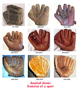 Pasttime Prints - Baseball Gloves Print by David Bearden