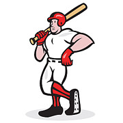 Isolated Digital Art Prints - Baseball Hitter Bat Shoulder Cartoon Print by Aloysius Patrimonio