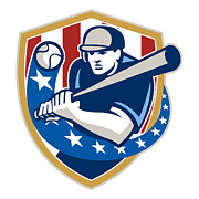 Isolated Digital Art - Baseball Hitter Batting Stars Stripes Retro by Aloysius Patrimonio