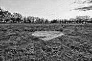Home Plate Metal Prints - Baseball - Home Plate - Black and White Metal Print by Paul Ward