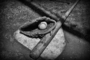 Ball And Glove Posters - Baseball Home Plate in black and white Poster by Paul Ward