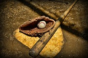Baseball Bat Photo Metal Prints - Baseball Home Plate Metal Print by Paul Ward