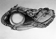 Glove Drawings Prints - Baseball in Glove Print by Cecilia Cooper
