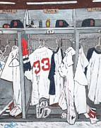 Baseball Painting Metal Prints - Baseball Locker Metal Print by Cliff Wilson