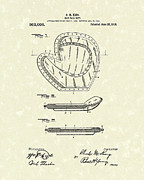 Baseball Art Drawings Metal Prints - Baseball Mitt 1910 Patent Art Metal Print by Prior Art Design