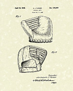 Baseball Art Drawings Prints - Baseball Mitt 1945 Patent Art Print by Prior Art Design