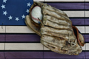 Homerun Posters - Baseball Mitt on American Flag Folk Art Poster by Paul Ward